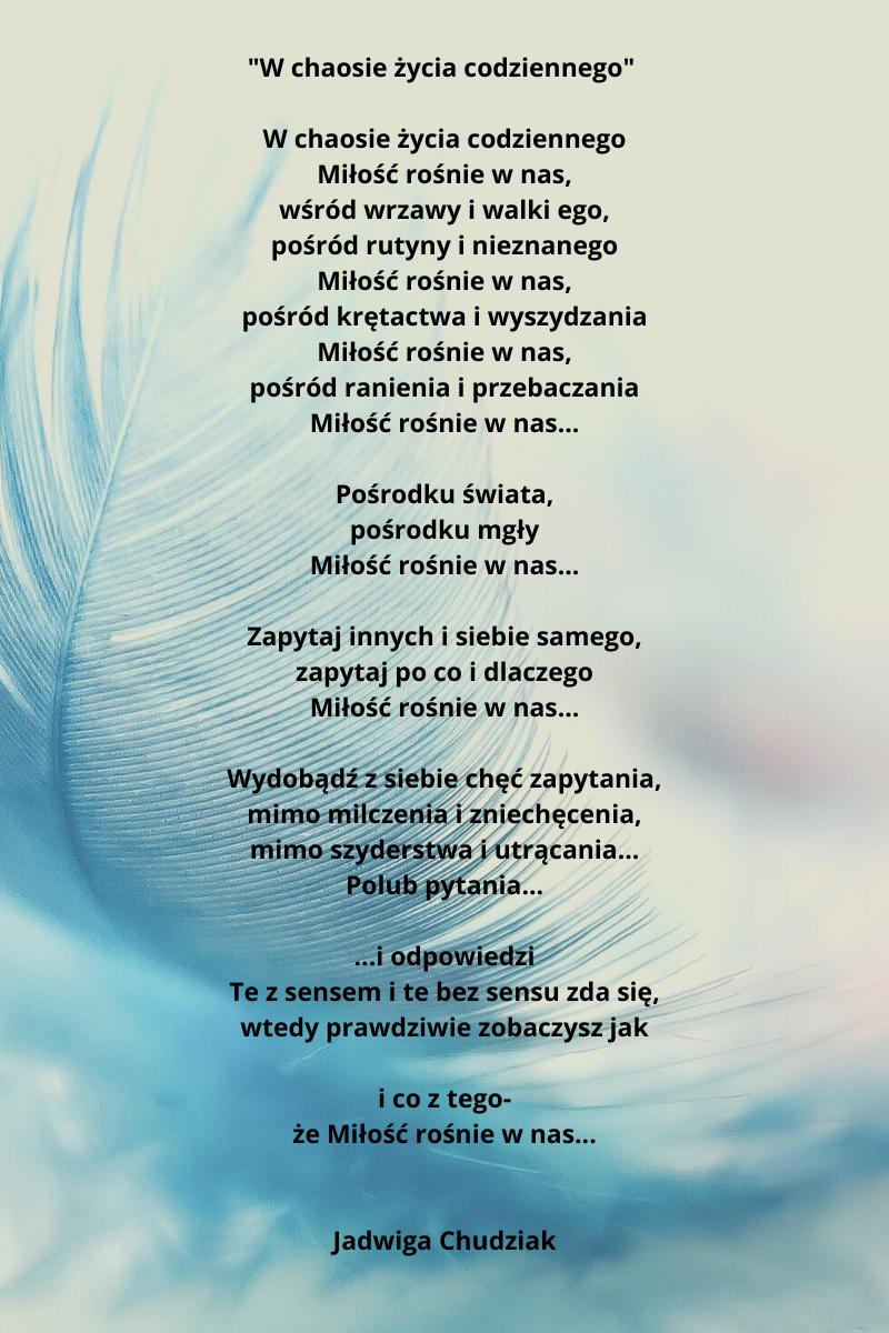 Tekst zwycięskiego wiersza w konkursie Słowo płynące z Okonka.