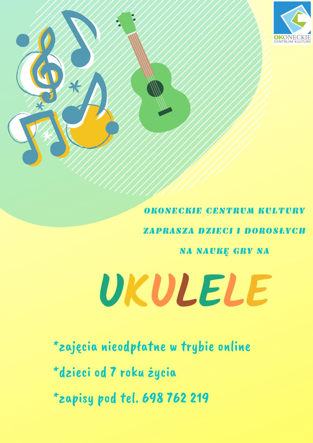 Plakat nauka gry na ukulele